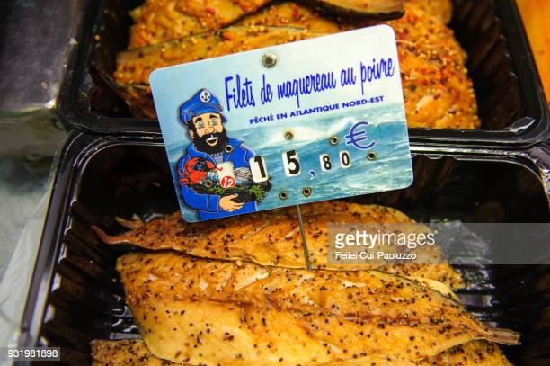 close-up of fish for sale at seafood market of somme-cayeux-sur-mer, somme department.france - hauts de france stock photos and pictures