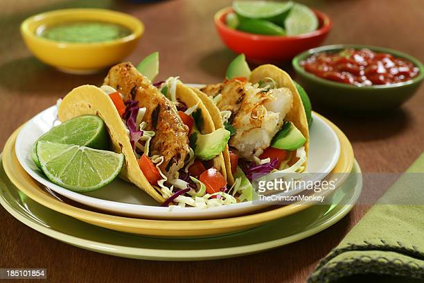 Closeup of fish tacos on plate