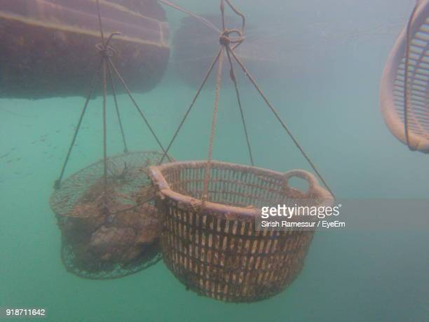 close-up of fishing net hanging in sea - crab pot stock photos and pictures
