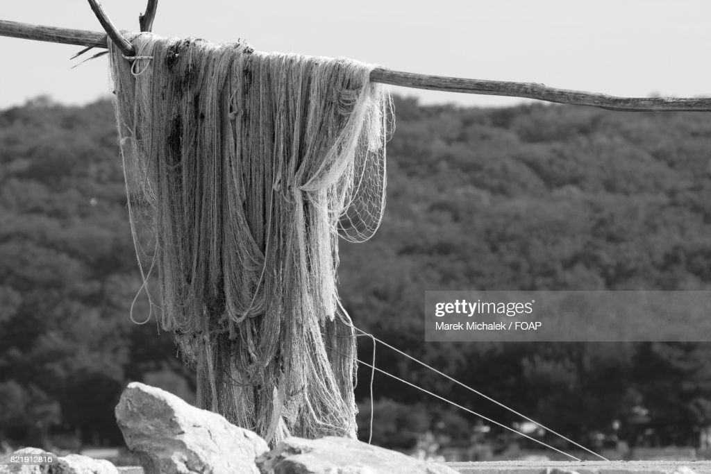 Close-up of fishing net on wood : Stock Photo