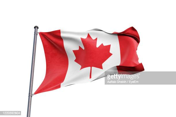 close-up of flag against clear sky - canadian flag stock pictures, royalty-free photos & images
