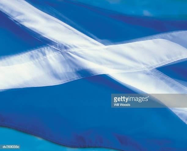 Closeup of flag of Scotland