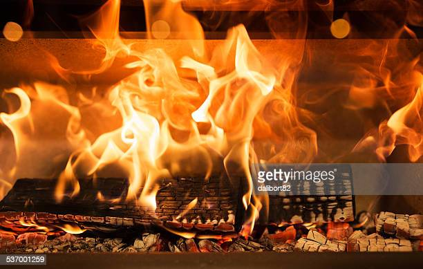 Close-up of flame in fireplace
