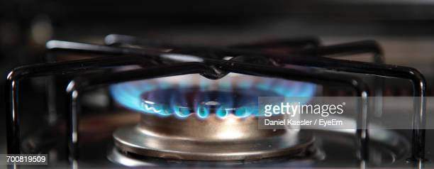 Close-Up Of Flames On Burner