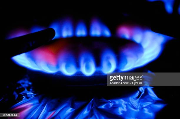Close-Up Of Flames On Gas Burner