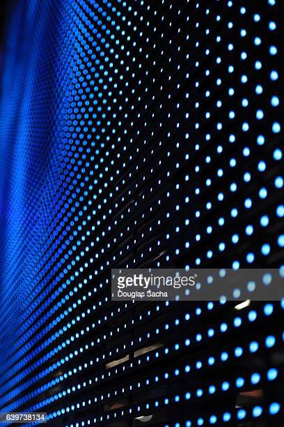 Close-up of flexible LED digital media canvas for large video display