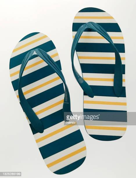 close-up of flip-flop on white background - open toe stock pictures, royalty-free photos & images