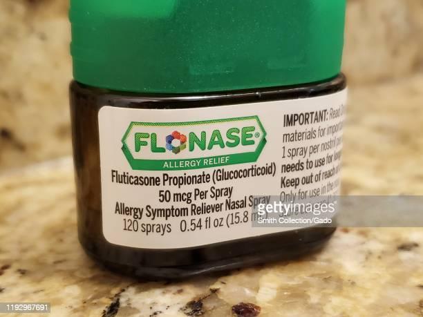 Close-up of Flonase nasal spray, an inhaled steroid often used to treat seasonal allergies, November 27, 2019.