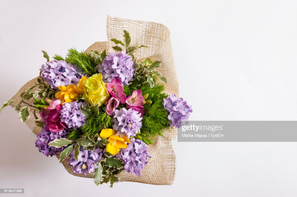Closeup Of Flower Bouquet Against White Background Stock Photo ...