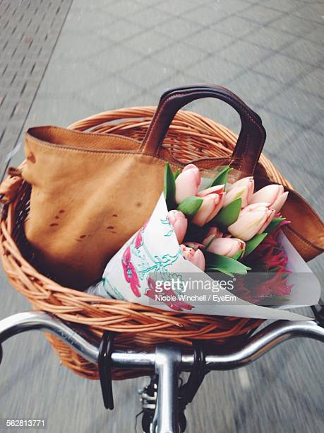 Close-Up Of Flowers In Bicycle Basket