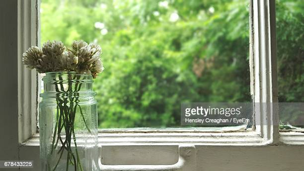 Close-Up Of Flowers In Glass Jar At Window Sill