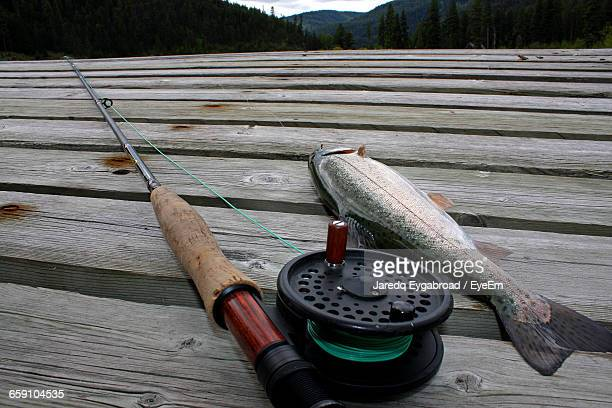 Close-Up Of Fly-Fishing Rod By Fish On Boardwalk