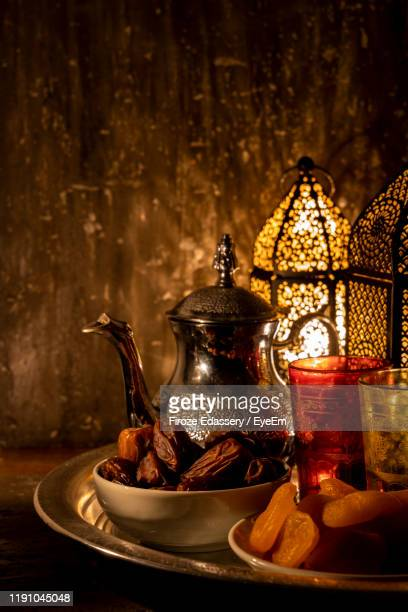 close-up of food and drink on table - iftar stock pictures, royalty-free photos & images