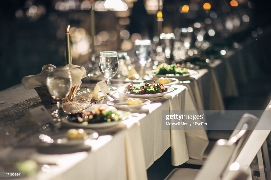 Close-Up Of Food And Drink Served On Table In Wedding Ceremony : Foto de stock