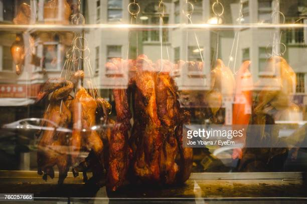 close-up of food for sale - san francisco chinatown stock photos and pictures