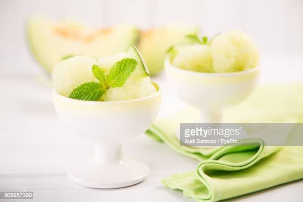close-up of food in bowl on table - sorbet stock pictures, royalty-free photos & images