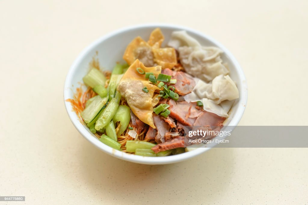 Close-Up Of Food In Bowl On Table : Stock Photo
