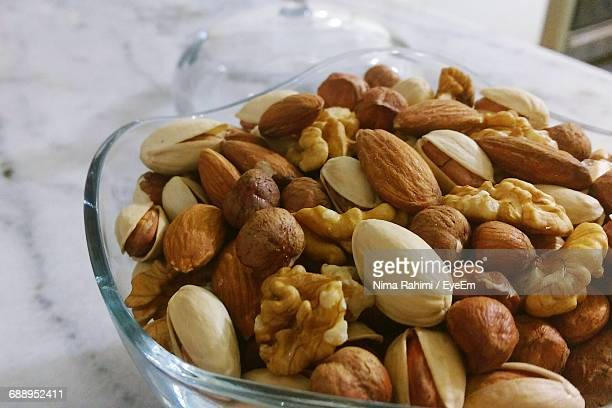 close-up of food in bowl - brazil nut stock photos and pictures