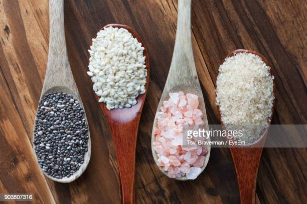 Close-Up Of Food In Wooden Spoon On Table