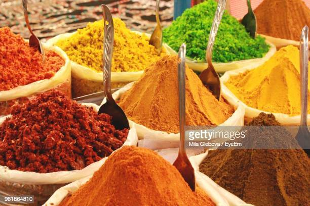 close-up of food on market stall - india market stock photos and pictures