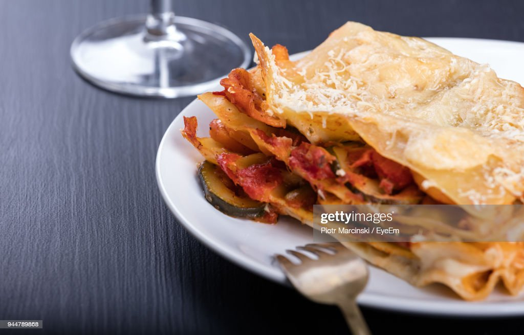 Close-Up Of Food Served In Plate On Table : Stock Photo