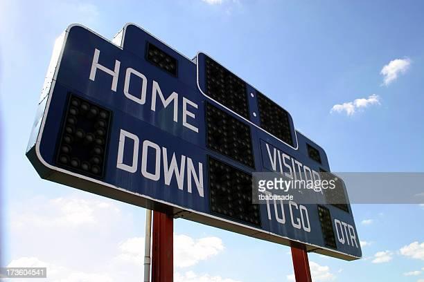 Close-up of football scoreboard against a blue sky