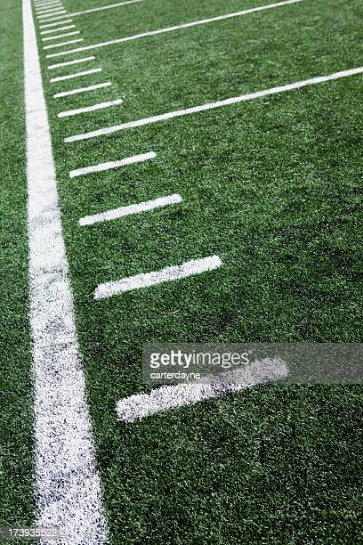 close-up of football stadium markings on artificial grass - turf stock pictures, royalty-free photos & images