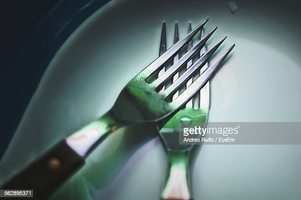close-up of fork in plate on table - andres ruffo stock-fotos und bilder