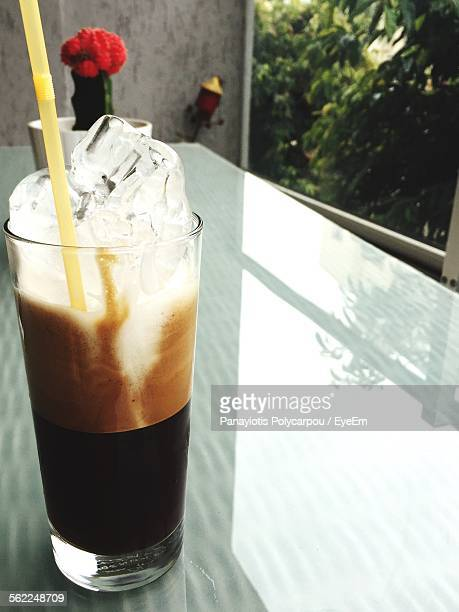 Close-Up Of Frappe Coffee Served On Table