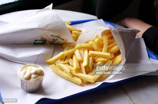 Close-Up Of French Fries With Dip