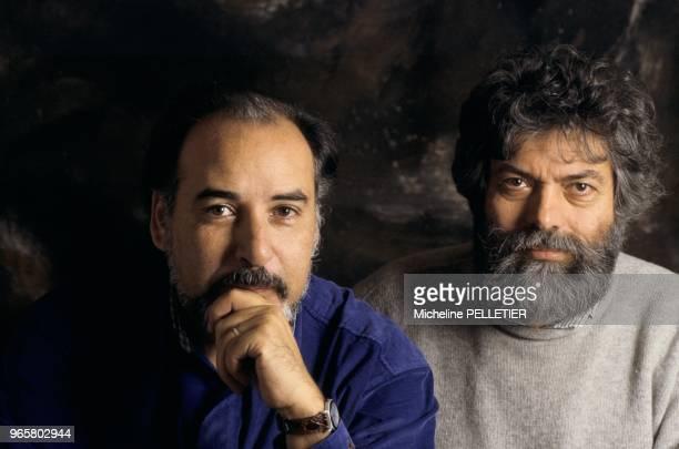 Closeup of French writer Marek Halter and Moroccan writer Tahar Ben Jelloun