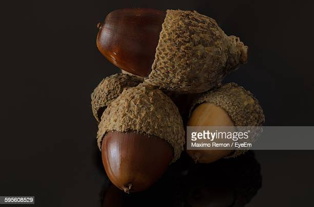 Close-Up Of Fresh Acorns Against Gray Background