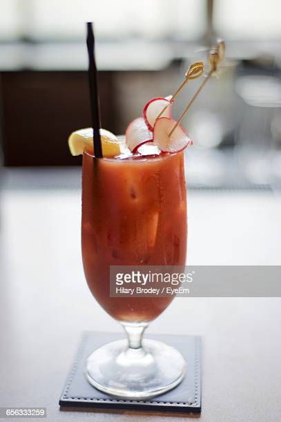 Close-Up Of Fresh Bloody Mary Served On Table At Restaurant