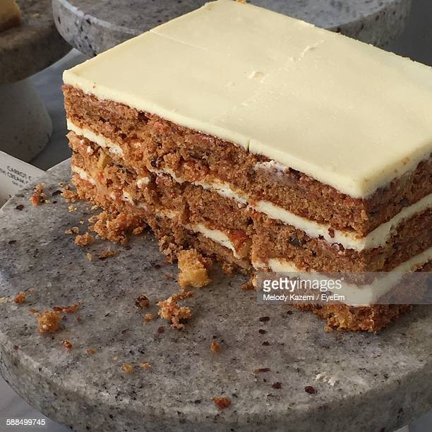 Close-Up Of Fresh Carrot Cake Piece