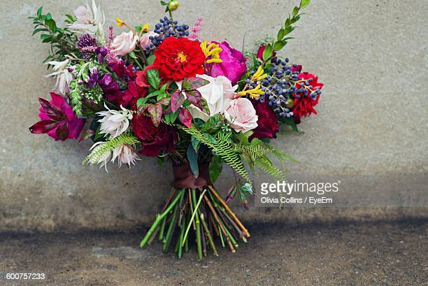 Close Up Of Fresh Flower Bouquet Against Wall