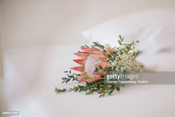 Close-Up Of Fresh Flowers On White Bed