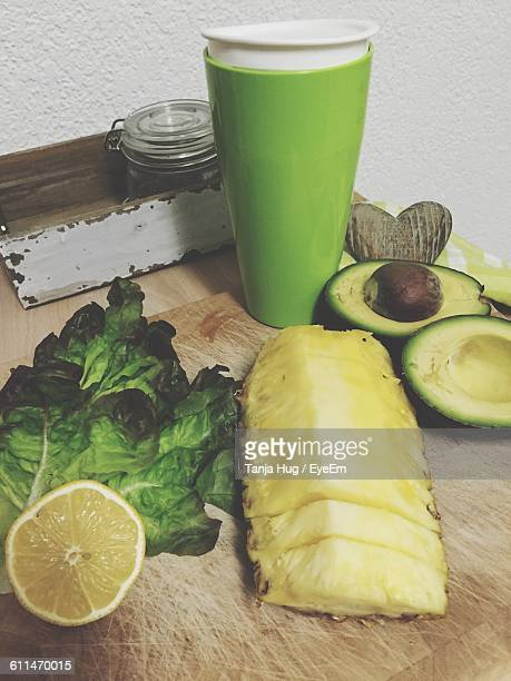 Close-Up Of Fresh Organic Fruits For Preparing Green Smoothie