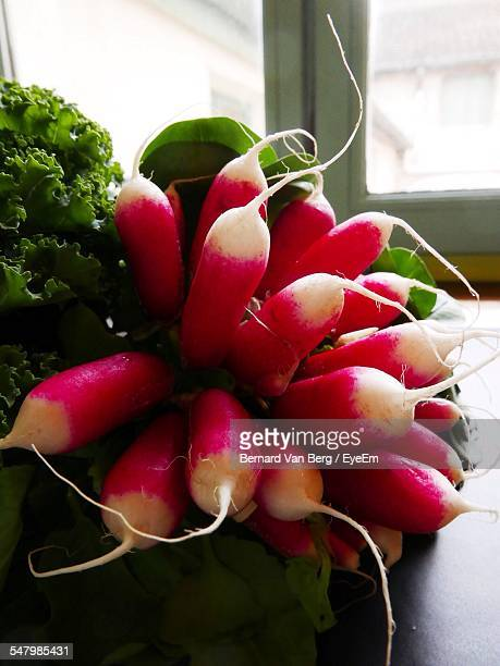 Close-Up Of Fresh Radishes And Kale On Table