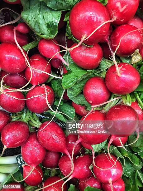 Close-Up Of Fresh Radishes At Market Stall
