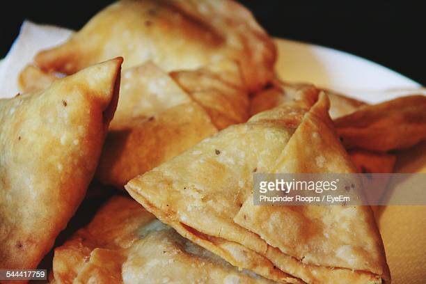Close-Up Of Fresh Samosas Served In Plate