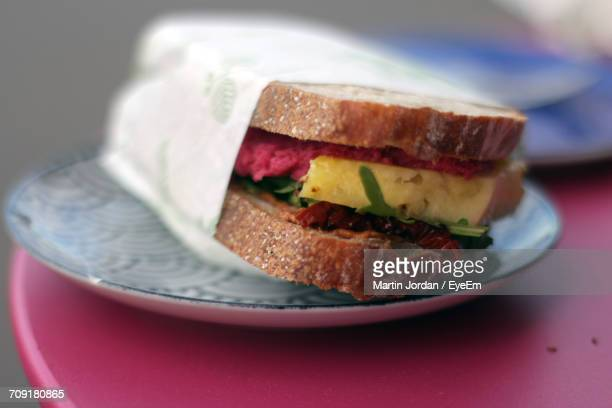 Close-Up Of Fresh Sandwich In Plate On Table