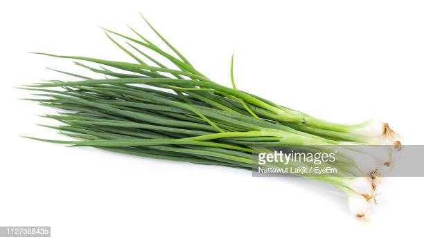 Close-Up Of Fresh Scallions Against White Background