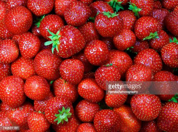 close-up of fresh strawberries - strawberry stock pictures, royalty-free photos & images