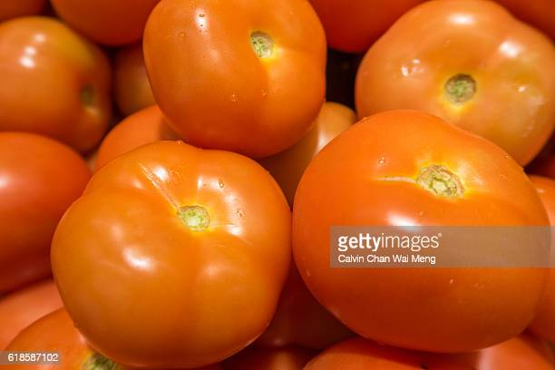 Close-up of fresh tomatoes in Singapore local market