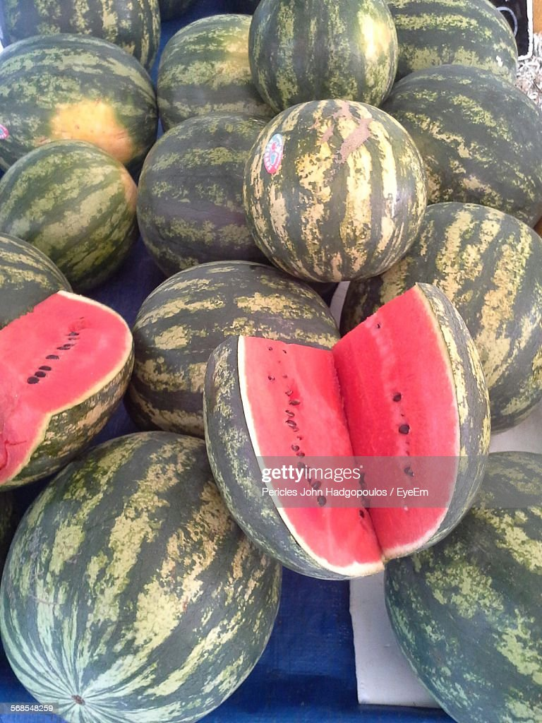 Close-Up Of Fresh Watermelons In Market : Stock Photo