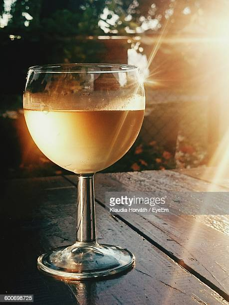 Close-Up Of Fresh White Wine In Glass On Table