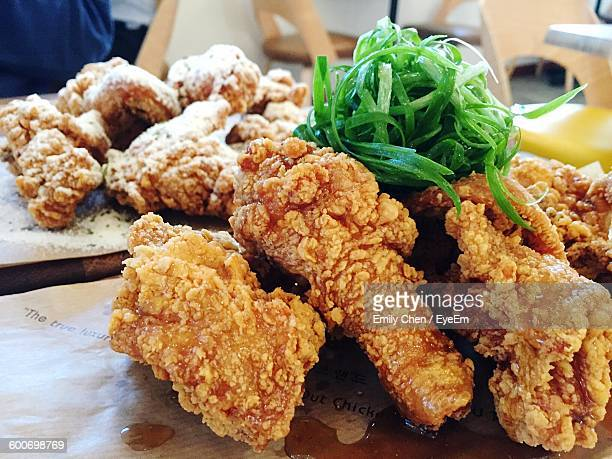 Close-Up Of Fried Chicken Served On Table