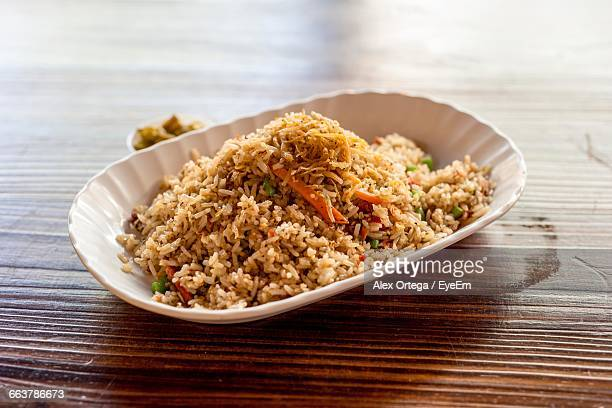 Close-Up Of Fried Rice Served On Plate
