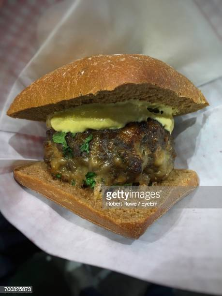Close-Up Of Frikadeller Burger In Tissue Papers
