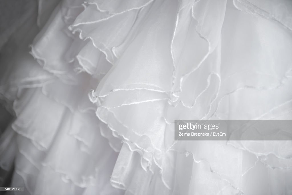 Closeup Of Frills On Wedding Dress Stock Photo Getty Images